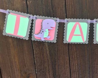 Pink/Purple/Mint Dinosaur Birthday Banner, dinosaur birthday, dinosaur party, pink dinosaur, Mint dinosaur