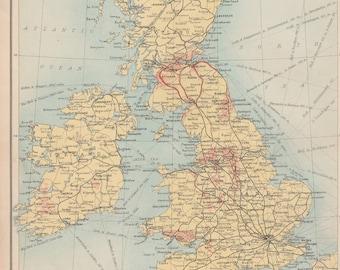 Vintage Map of British Isles, Railways Print