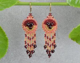 Long earrings Red earrings Long Chandelier Earrings Goldfilled earrings Top valentine gifts Special valentine gift Valentines jewelry