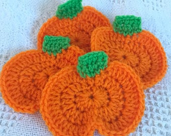 Crocheted Holiday Coasters, Pumpkin, Ghost