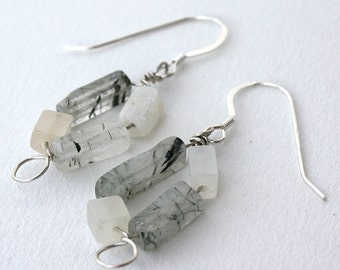 Moonstone Circle Sterling Silver Earrings