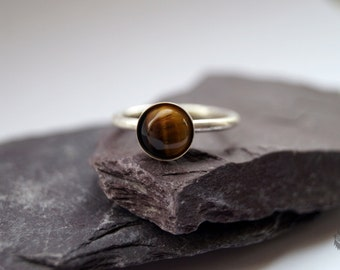 Tiger's Eye Sterling Silver Ring ~ statement ring, stacking ring, gemstone, unique, solitaire ring