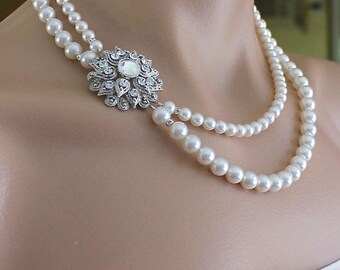Pearl Bridal Necklace, Deco Pearl Necklace, Multistrand Pearl Necklace, Vintage Wedding Necklace, Bridal Jewelry AIMEE 2