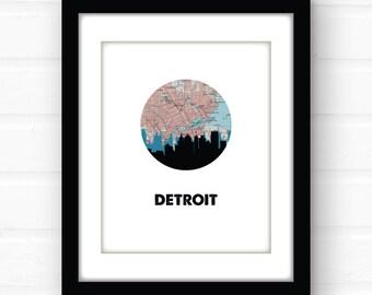Detroit art   Detroit map print   Detroit skyline art   Detroit, Michigan art   Michigan map print   city skyline art   Michigan wall art