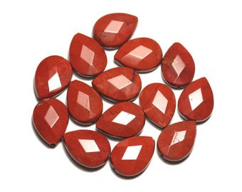 Wire 39cm env - stone beads - red Jasper drops faceted 18 x 13 mm 22pc