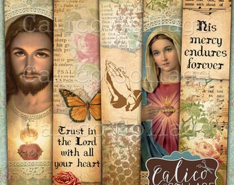 Religious Bookmarks, Bible Verses, Faith, Printable, Digital, Collage Sheet, Bible Ephemera, Junk Journal, Smash Book, CalicoCollage