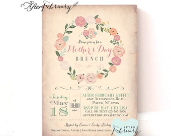 Mother's Day Invitation, Mother's Day Brunch Lunchon Vintage Peach Background // Cottage Chic Floral Invite // Printable No.30MOM