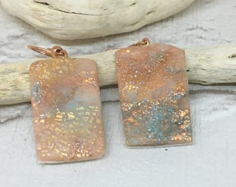 Rose Gold and Blue Earrings with Rose Gold Plated Hooks,