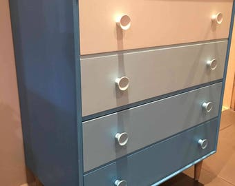 """SOLD! Meredew Chest Drawers in Farrow & Ball """"Giles Blue"""" ombré shades. Mid Century Vintage. Retro. MCM."""