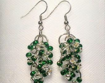 St. Patrick's day long beautiful muitiple drop green and silver earrings