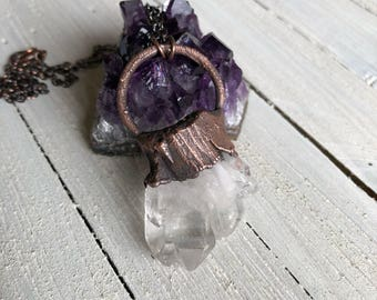 Electroformed Clear Quartz Crystal Necklace - Crystal Points - Crystal Cluster - Raw Crystal Point - Clear Quartz