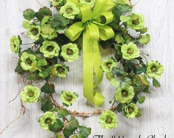 Spring Wreath, Summer Wreath, Vine Farmhouse Wreath, Front Door Wreath, Spring Wreaths, Summer Wreaths, Green Door Wreath, Spring Door Decor