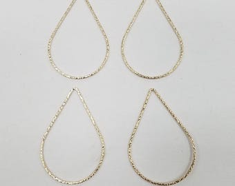 1 Piece - 14k Gold FIlled 25mm x 35mm (Large) Teardrop Hammered Links, Made in the USA