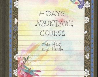 Seven Days Abundance course. Manifesting effortlessly PDF. Instant download