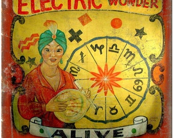 "Alive Circus Carnival Electric Wonder 10"" X 7"" Reproduction Metal Sign ZH72"