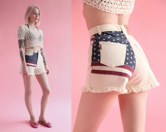 "SALE - Vtg 90s The Limited American Flag High Waisted Jean Shorts 24.5"" Waist sz XS"