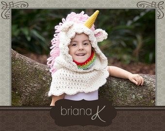 Unicorn Hooded Cowl PATTERN with Rainbow Neck Warmer- Instant Download- Sizes 1-3 years (4-7 years, 8-12 years, teen/adult)