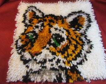 Square Cute Baby Tiger Rug Hooked. Hand Made Wall Art Done With Rug Hooking, See Pictures of Front and Back, Crafting Rug Hook Project Tiger