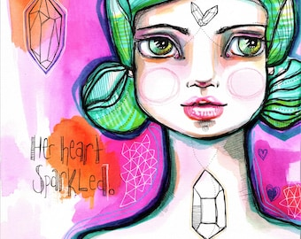 Sparkle Heart - Original Watercolor Abstract Bohemian Woman Goddess whimsy geomstone surrealism boho portrait Painting