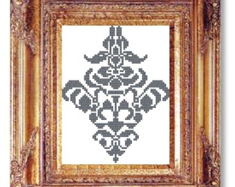 Damask gray cross stitch pattern