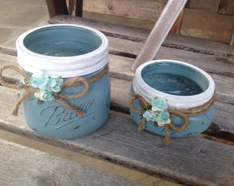 Set of two wide mouth Mason jars, painted Mason jars, distress Mason jars, bathroom decoration, home decor , Mason jars