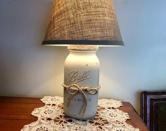Mason Jar Lamp, Table Lamp, Country Rustic Lamp, Farmhouse Style Lamp,  Farmhouse