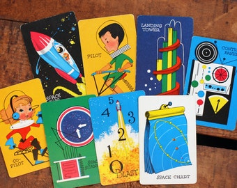 Vintage Space-O Cards - Set of 8 - Outer Space, Future, Science, Orbit Cards