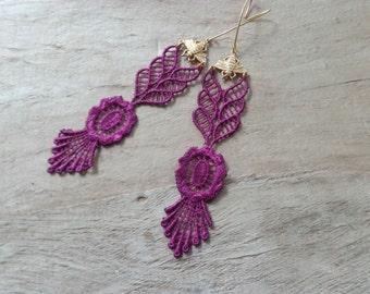Purple lace earrings, dangle earrings, purple flower earrings, long gold earrings, bee earrings