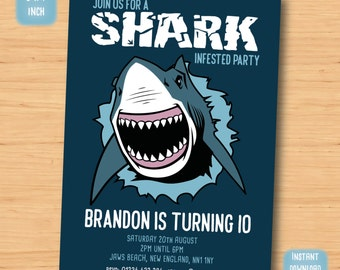 Shark birthday invitation - SELF EDITABLE PDF - 5 x 7 inch Customisable shark Printable Birthday Party Invite - Instant Download