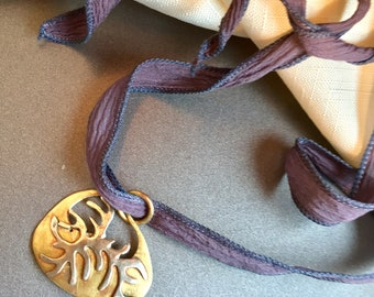 Ala Matisse pendant in Brass and German Silver on Adjustable chenille ribbon