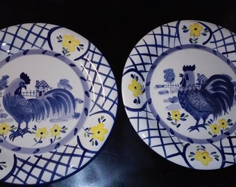 Set of 2 Bella Casa by Ganz Rooster Dinner plates