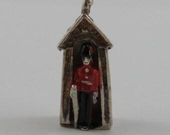 Enamel Buckingham Palace Queen's Guard in Sentry Box Sterling Silver Vintage Charm For Bracelet