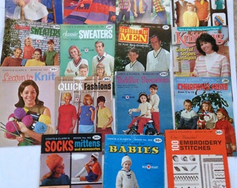 15 Vintage Knitting Crocheting Leaflets Adults Babies Children Over 100 Patterns Learn to Knit 100  Embroidery Stitches