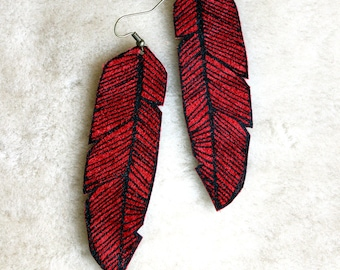 Screen Printed Leather Earrings-Red and Black Feather