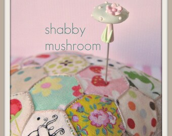 Shabby Mushroom Aqua and Pink  Pin Topper