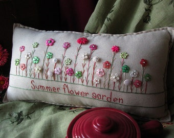 Summer Flower Garden Pillow (Cottage Style)