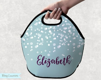 Personalized Lunch Tote Bag for Kids, Teens, or Adults - Washable Neoprene - Blue Teal Aqua with falling dots Purple Name