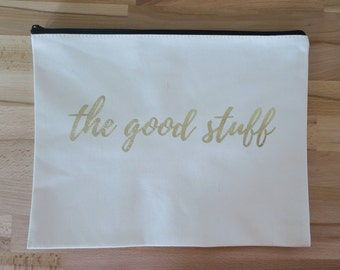 The Good Stuff Large Canvas Cosmetic Bag