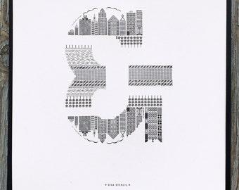 Bixa Stencil letterpress ampersand print