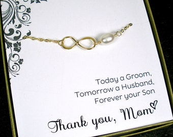 Mother of the Groom Gift, from Son, Mother of the Bride Gift, from Daughter, Wedding Party, Thank you Wedding Cards, Gold Infinity Bracelet