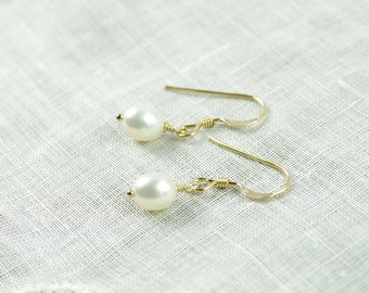 Small Pearl Earrings 14kt Gold Filled Pearl Flower Girl Jewelry Childrens Earrings Simple Bridesmaid Earrings Delicate Bridesmaids Gifts