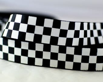 """Black and White Checkers Pattern Grosgrain Ribbon 7/8"""" Scrapbooking HairBows Parties DIY Projects BW1015"""