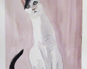 Custom Original CAT watercolour pet portrait painting gift Christmas Birthday pet-lover