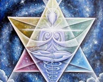 Galactic Starseed Goddess - Healing Art print, 11 x 11, by Tiffany Davis-Rustam