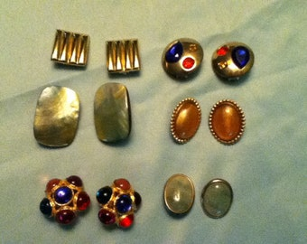 Clunky Costume Jewelry, Six Pairs of Earrings