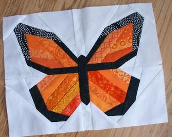 PDF Pattern - Monarch Butterfly Paper Pieced Block - 3 sizes