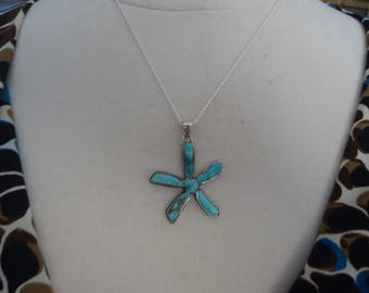 """Vintage 925 Sterling Silver and Turquoise Flower Pendant on 18"""" Sterling Silver Chain, 8 Grams, Estate"""
