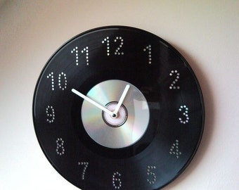 Upcycled disc jockey wall clock from vinyl LP record and CD, DVD disc - interesting mix of retro and modern
