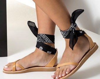 """Leather Sandals, Women Ankle Tie sandals with low wedge with a set of 5 interchangeable bandana laces!  """"Irene"""""""