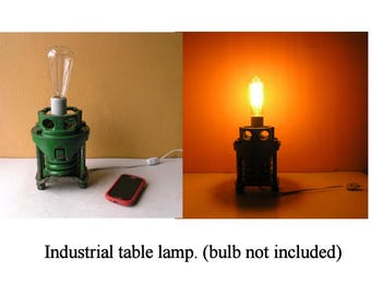Unique Industrial Table Lamp Steampunk lighting John Deere Green Home Accent Lighting Housewarming gift for men plug in ceramic light socket